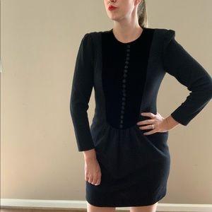 Oscar De La Renta Wool and Velvet Dress
